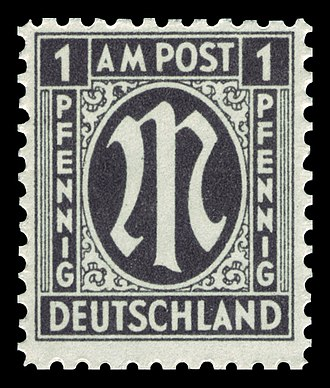 Postage stamps and postal history of Germany - AM Post stamp 1945