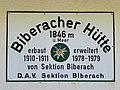 Biberacher Hütte, Schild.jpg