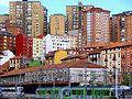 Bilbao - Aglomeración de edificios de los barrios de Atxuri y Solokoetxe.JPG