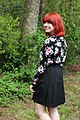 Black Pleated Skirt and Long Sleeved Floral Print Blouse (18325514342).jpg