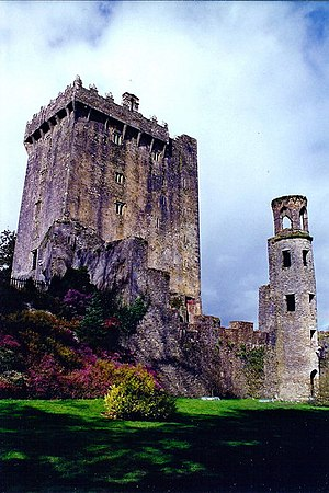 The Blarney Stone. The Blarney Stone is a slab of limestone. The size of the stone is about 4 feet long and 1 foot wide. It is built into the castle's battlements 83 feet up from the ground. There are lots of myths about where the stone came from. Some say it came from the .