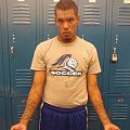 Blue Knight student-athlete protesting Senate Bill 1070 during soccer game at Scottsdale Community College in Fall 2012. Photo taken in locker room before kickoff..jpg