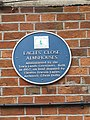 Blue plaque on the Almshouses - geograph.org.uk - 1885632.jpg