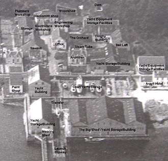 Alexander Robertson & Sons - Layout of the boatyard, indicating the function of all buildings.