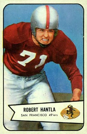 Bob Hantla - Hantla on a 1954 Bowman football card