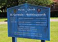 Bobbingworth, Essex, England - St Germain's Church exterior sign board.JPG