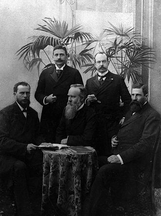 Hendrik Pieter Nicolaas Muller - Special Diplomatic Delegation of the Boer Republics to Europe and America, 1900, l.t.r. front: A.D.W. Wolmarans, A. Fischer, C.H. Wessels, and back: Dr. W.J. Leyds and Dr. H.P.N. Muller