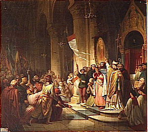 Boniface I, Marquess of Montferrat - Boniface elected as leader of the Fourth Crusade, Soissons, 1201: history painting by Henri Decaisne, early 1840s, Salles des Croisades, Versailles.