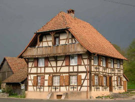 Half-timbered house in Boron
