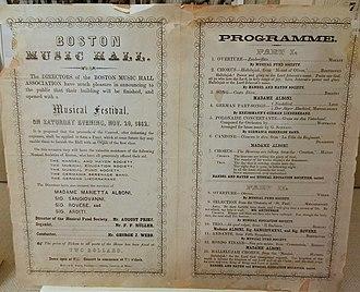 Boston Music Hall - Opening night program, November 20, 1852