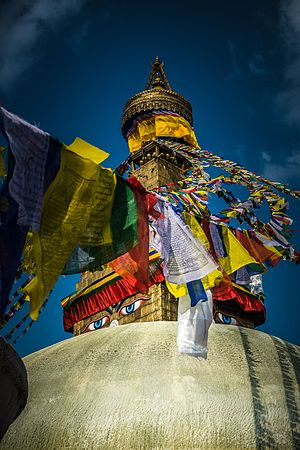 Boudhanath - Boudhanath with prayer flags