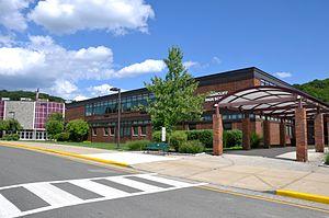 Briarcliff High School - High school façade, entranceway, and theater