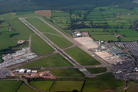 Bristol Airport, which is located in North Somerset Bristol airport overview.jpg