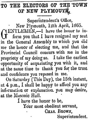 Town of New Plymouth by-election, 1865 - Brown's resignation, published on 15 April 1865 in the Taranaki Herald