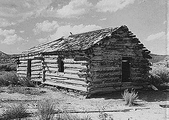 Bryce Canyon National Park - Ebenezer Bryce and his family lived in Bryce Canyon, in this cabin, here photographed c. 1881.