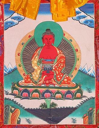 Amitābha - Buddha Amitābha in Tibetan Buddhism, traditional thangka painting