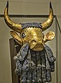 Bull-headed lyre recovered from the royal cemetery of Ur Iraq 2550-2450 BCE Gold Lapis Lazuli (2).jpg