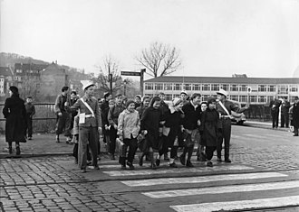 Crossing guard - Verkehrshelfer in 1956 in Germany
