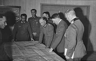 German Army (Wehrmacht) - Adolf Hitler with generals Keitel, Paulus and von Brauchitsch, discussing the situation on the Eastern Front in October 1941