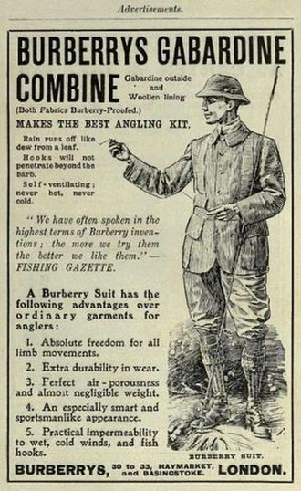 Gabardine - Burberry advertisement for waterproof gabardine suit, 1908