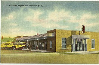 Keys v. Carolina Coach Co. - Roanoke Rapids bus terminal, shown with a Carolina Trailways bus, in a postcard from the North Carolina State Archives