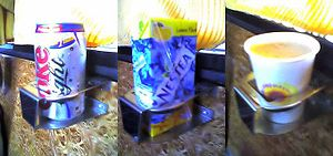 Cup holder - Cup holder installed on a bus.