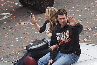 Buster Posey - Posey and his wife, Kristen at the 2012 World Series Parade.