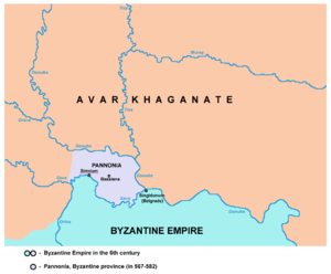 Pannonia (Byzantine province) - Map of the Byzantine Pannonia