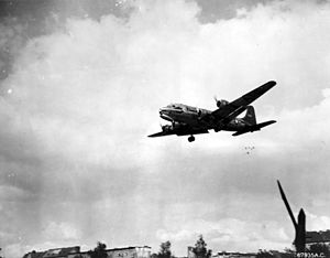 Raisin Bombers - Douglas C-54 Skymaster dropping candy during Berlin Airlift, c. 1948/49
