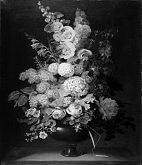 En vase med blomster