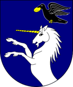 Blue shield with a white, rearing unicorn under a flying black bird