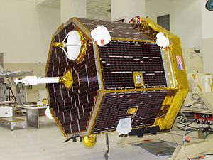 CONTOUR - The CONTOUR spacecraft at the Kennedy Space Center in May 2002, being prepared for launch.