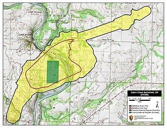 Battle of Cabin Creek - Map of Cabin Creek I Battlefield core and study areas by the American Battlefield Protection Program.