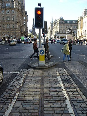 Edinburgh Corporation Tramways - Remnant of the old cable-hauled tramway remain on Waterloo Place at the East End of Princes Street