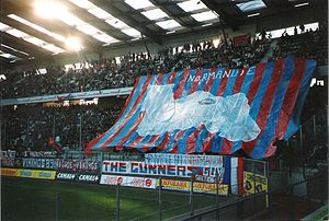 Stade Malherbe Caen -  Tifo at Stade Michel d'Ornano for Normandy derby in 1995.