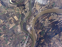 Confluence of the Mississippi and Ohio Rivers at Cairo, Illinois.