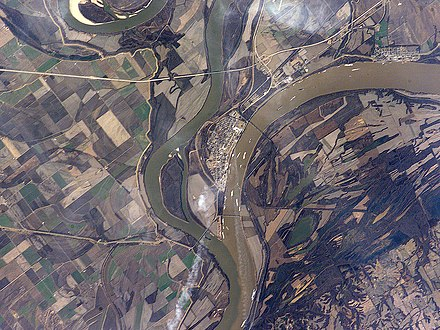 The confluence of the Mississippi and Ohio rivers is at Cairo, Illinois. CairoIL from space annotated.jpg