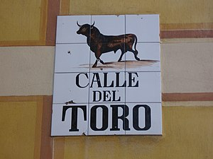 Del Toro (surname) - Artistic street sign in Madrid, Spain.