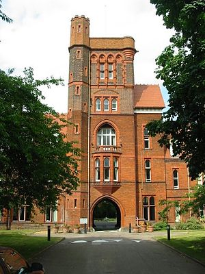 Girton College, Cambridge - Driveway leading to main entrance with gatehouse tower, seen from Huntingdon road
