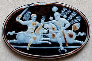 "Military of the Sasanian Empire - A cameo showing an equestrian combat scene, depicting the capture of Roman Emperor Valerian in 256 by Shapur I, ""with our own hand"", according to the latter's own pronouncement."