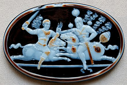 "A fine cameo showing an equestrian combat of Shapur I and Roman emperor Valerian in which the Roman emperor is seized following the Battle of Edessa, according to Shapur's own statement, ""with our own hand"", in 260 Cameo Shapur Valerianus Bab360 CdM Paris.jpg"
