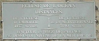 Canal du Midi - Sign indicating the Océan Lock at the Seuil de Naurouze at the highest point with 189m altitude