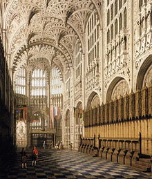 Painting of Henry VII Chapel. Wooden stalls are against one wall. The tall ceiling has decorative drop pendants. The floor has a black and white checkerboard pattern.