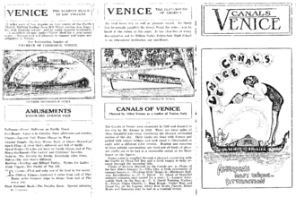 "Venice Canal Historic District - Flyer promoting canals as ""America's most unique attraction"""