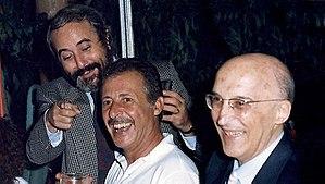 Antonino Caponnetto - Antonino Caponnetto (right) with Giovanni Falcone and Paolo Borsellino