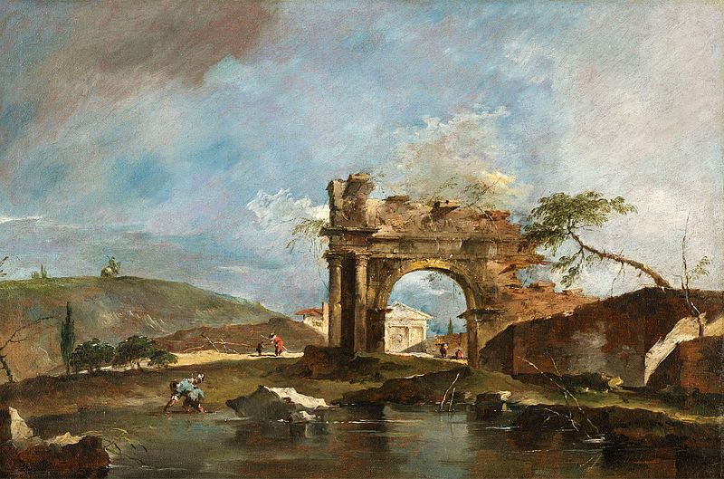 Capriccio with a classic ruined arch, riverbank with fishermen, a temple beyond