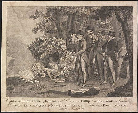 Captains Hunter, Collins and Johnston with Governor Phillip, Surgeon White visiting a distressed female native of New South Wales at a hut near Port Jackson 1793 - Alexander Hogg Captains Hunter, Collins and Johnston with Governor Phillip, Surgeon White visiting a distressed female native of New South Wales at a hut near Port Jackson 1793.jpg