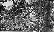 Captured German Askari waiting to draw their rations on Lindi Line