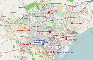 Leisure centres in Cardiff - Locations of leisure centres and other facilities in Cardiff owned by the city council