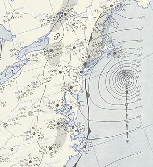 Hurricane Carol (1953) - Image: Carol 1953 09 07 weather map